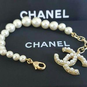 CHANEL Jewelry - CHANEL CC Coco Mark Pearl Glass Gold Bracelet